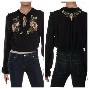 Free People Faux Wrap Embroidered Top Black